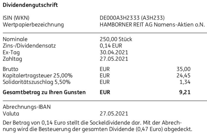 Dividendengutschrift Hamborner REIT im Mai 2021 Teil 2
