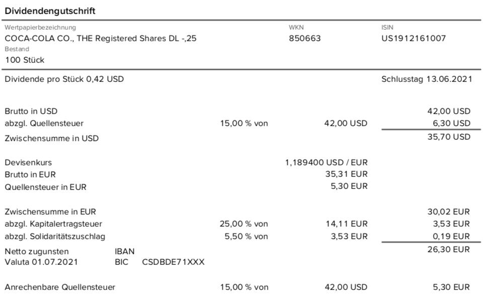 Dividendengutschrift Coca-Cola im Juli 2021 bei der Consorsbank