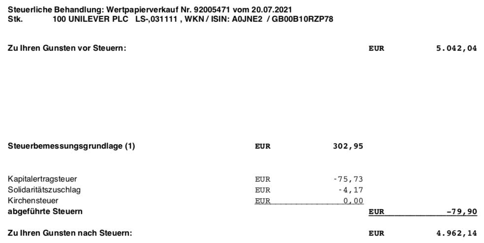 Aktienverkauf Unilever im Juli 2021 Steuer