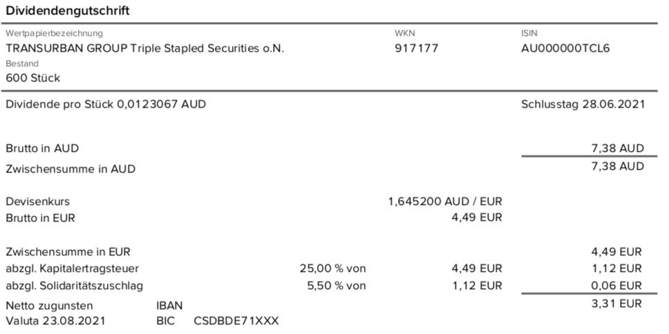 Dividendengutschrift Transurban Group im August 2021 mit 0% Quellensteuer