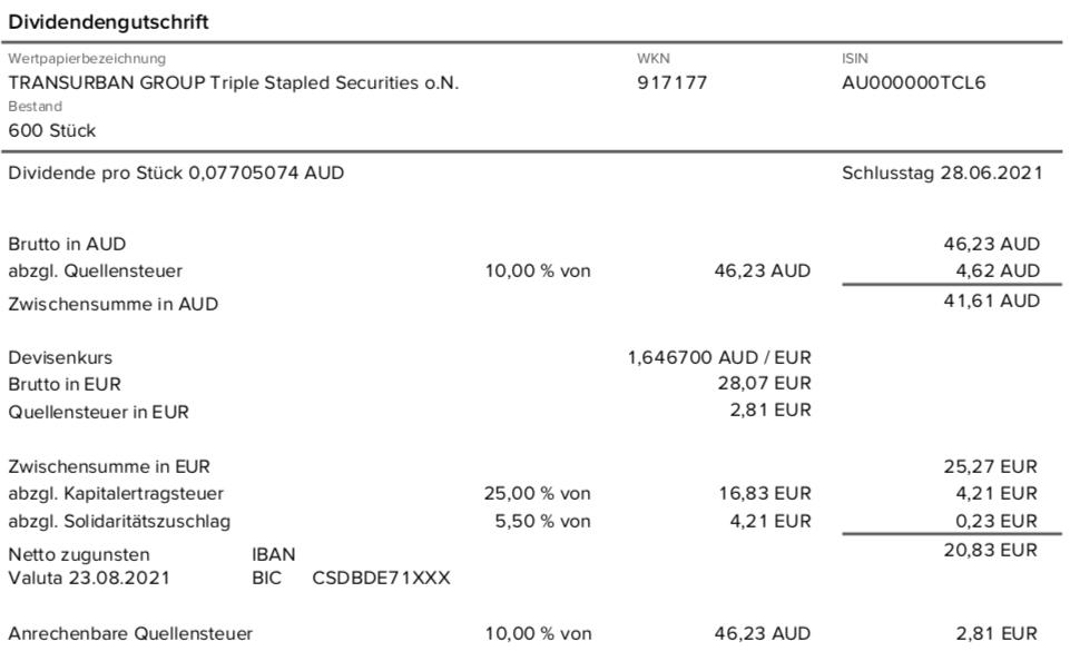 Dividendengutschrift Transurban Group im August 2021 mit 10% Quellensteuer