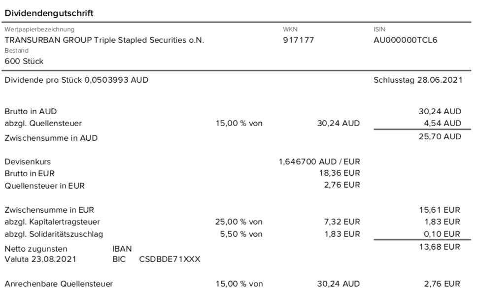 Dividendengutschrift Transurban Group im August 2021 mit 15% Quellensteuer